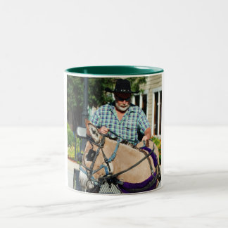 donkey in parade Two-Tone coffee mug