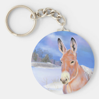 donkey in the snow basic round button keychain