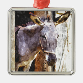 Donkey in watercolor metal ornament