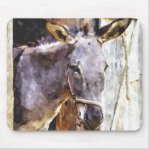 Donkey in watercolor mouse pad