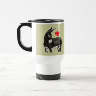 Donkey Love Stainless Steel Commuter Travel Mug with sweet adorable donkey and red heart