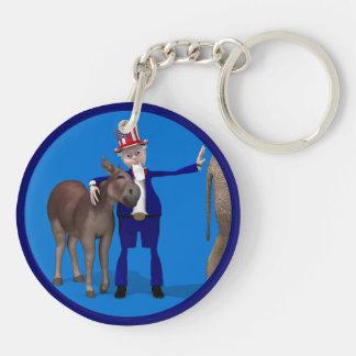 Donkey Lover Uncle Sam Keychain