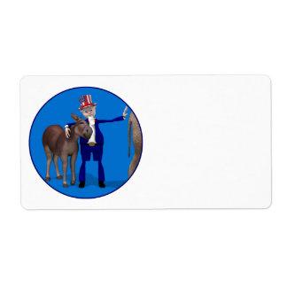 Donkey Lover Uncle Sam Label