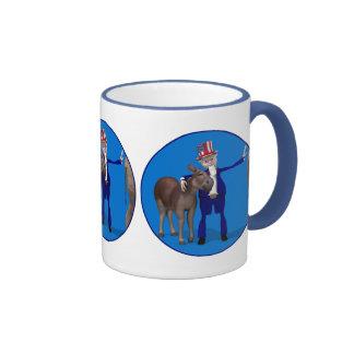 Donkey Lover Uncle Sam Ringer Coffee Mug
