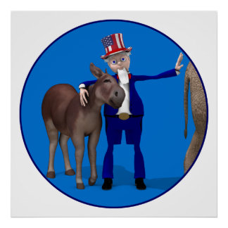 Donkey Lover Uncle Sam Poster