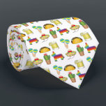 """Donkey Maracas Taco Margarita Cinco de Mayo Fiesta Neck Tie<br><div class=""""desc"""">Necktie design features an original marker illustration of a row of original Cinco de Mayo themed illustrations!  Don&#39;t see what you&#39;re looking for? Need help with customization? Click &quot;contact this designer&quot; to have something created just for you!</div>"""