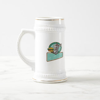 Donkey Mascot Serve Burger Rectangle Oval Retro Beer Stein
