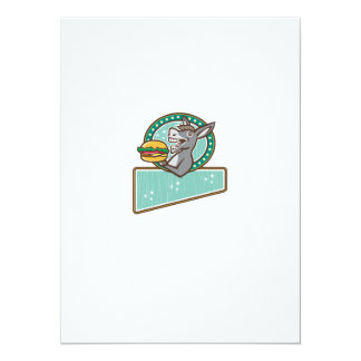 Donkey Mascot Serve Burger Rectangle Oval Retro Card