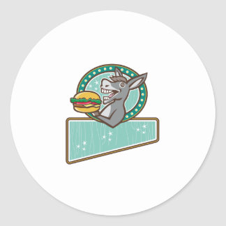 Donkey Mascot Serve Burger Rectangle Oval Retro Classic Round Sticker