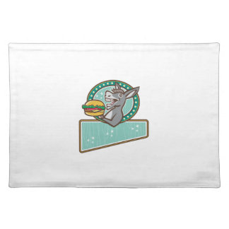 Donkey Mascot Serve Burger Rectangle Oval Retro Cloth Placemat