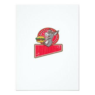 Donkey Mascot Serve Burger Rectangle Retro Card
