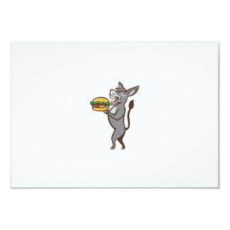 Donkey Mascot Serving Hamburger Isolated Retro Card