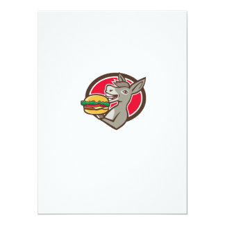 Donkey Mascot Serving Hamburger Oval Retro Card