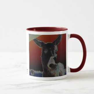 Donkey on Dark Red Mug