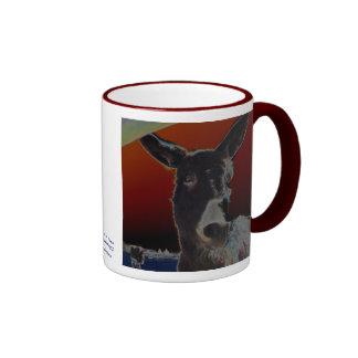 Donkey on Dark Red Ringer Coffee Mug
