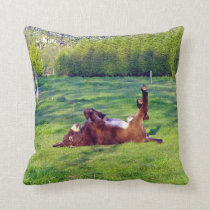 donkey on its back throw pillow