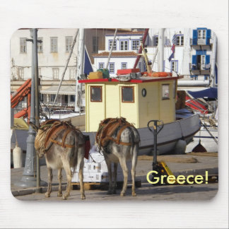 donkey on quay in Greece Mouse Pad