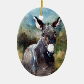 Donkey Portrait Double-Sided Oval Ceramic Christmas Ornament