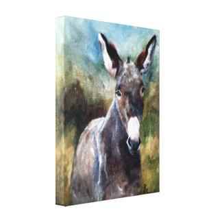 Donkey Portrait Wrapped Canvas Print