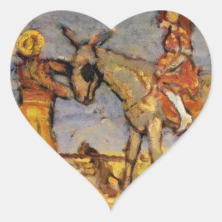 Donkey Rider by Maurice Prendergast Heart Sticker