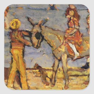 Donkey Rider by Maurice Prendergast Square Sticker