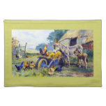 Donkey Rooster Chicken Hey farm Cloth Placemat