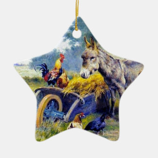 Donkey Rooster Chicken Hey farm Christmas Ornament