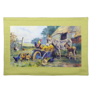 Donkey Rooster Chicken Hey farm Place Mat