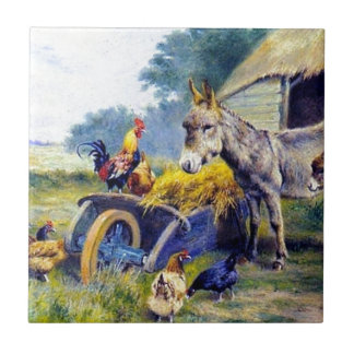 Donkey Rooster Chicken Hey farm Small Square Tile