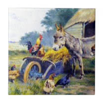 Donkey Rooster Chicken Hey farm Tile