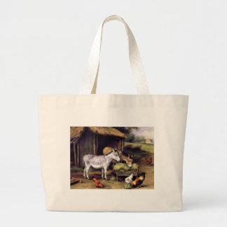 Donkey rooster farm tote bag