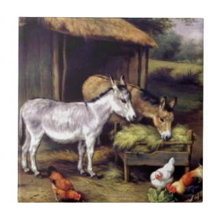Donkey rooster farm small square tile
