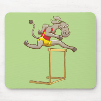 Donkey running and jumping over a hurdle mouse pad