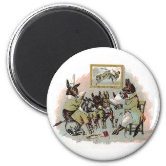 Donkey School Antique Illustration Fridge Magnet