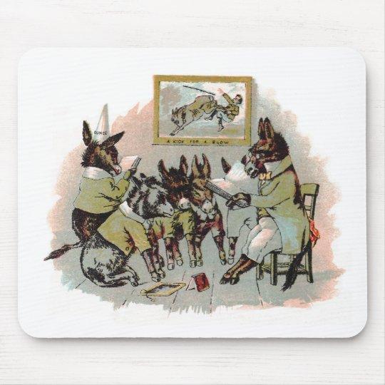 Donkey School Antique Illustration Mouse Pad