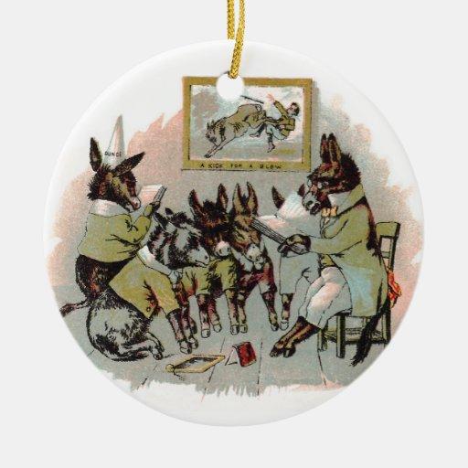 Donkey School Antique Illustration Double-Sided Ceramic Round Christmas Ornament