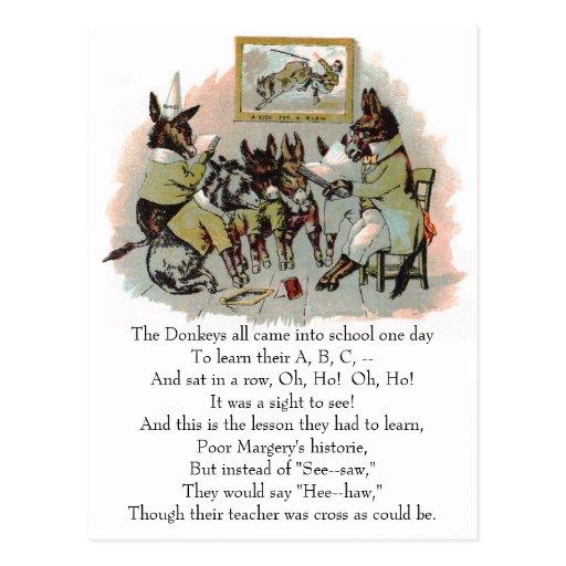 Donkey School Antique Illustration Post Card