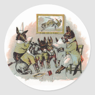 Donkey School Antique Illustration Classic Round Sticker