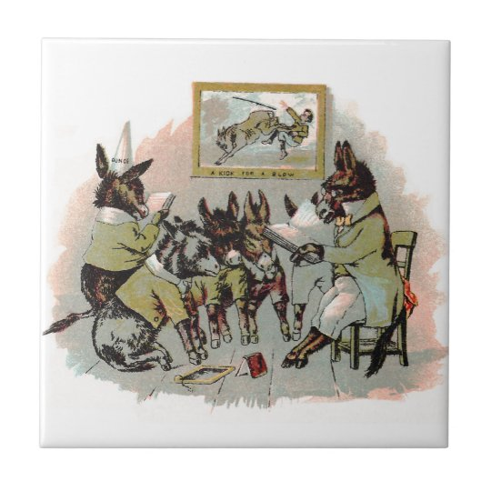Donkey School Antique Illustration Tile