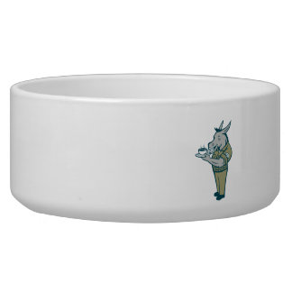 Donkey Sergeant Army Standing Drinking Coffee Cart Bowl