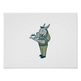 Donkey Sergeant Army Standing Drinking Coffee Cart Poster
