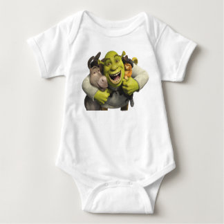 Donkey, Shrek, And Puss In Boots Baby Bodysuit