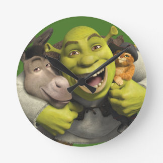Donkey, Shrek, And Puss In Boots Wall Clocks