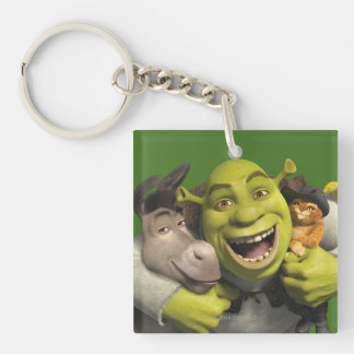 Donkey, Shrek, And Puss In Boots Double-Sided Square Acrylic Keychain