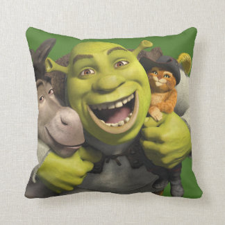 Donkey, Shrek, And Puss In Boots Throw Pillow