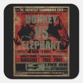 Donkey vs. Elephant Square Sticker