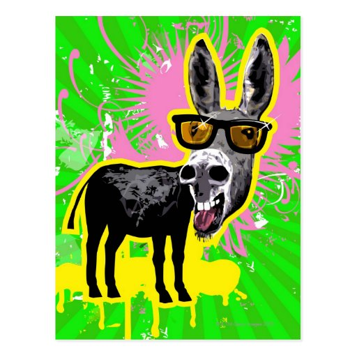Donkey Wearing Sunglasses Post Cards