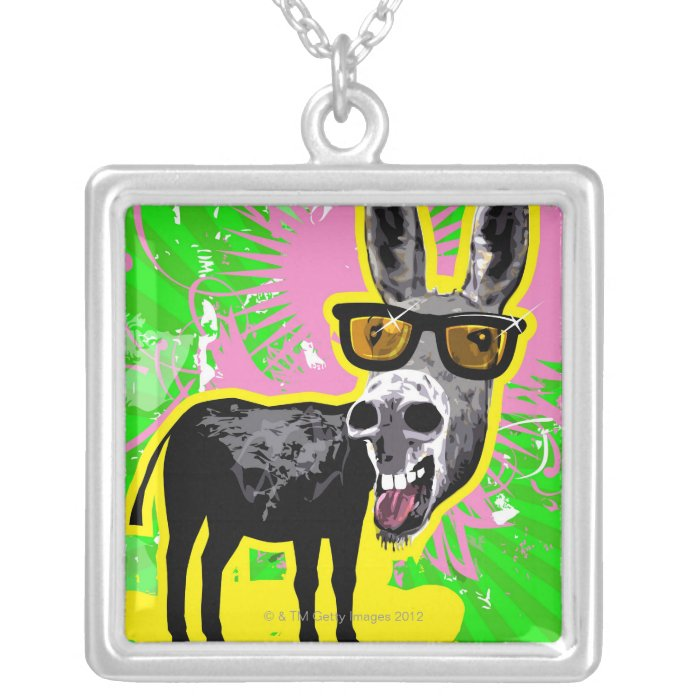 Donkey Wearing Sunglasses Silver Plated Necklace