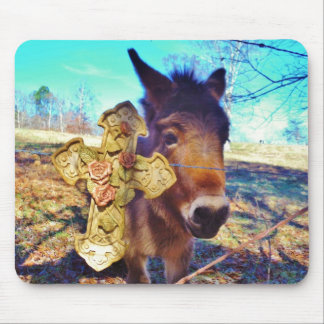 Donkey with Rose Cross Mouse Pad