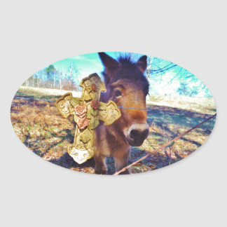 Donkey with Rose Cross Oval Sticker